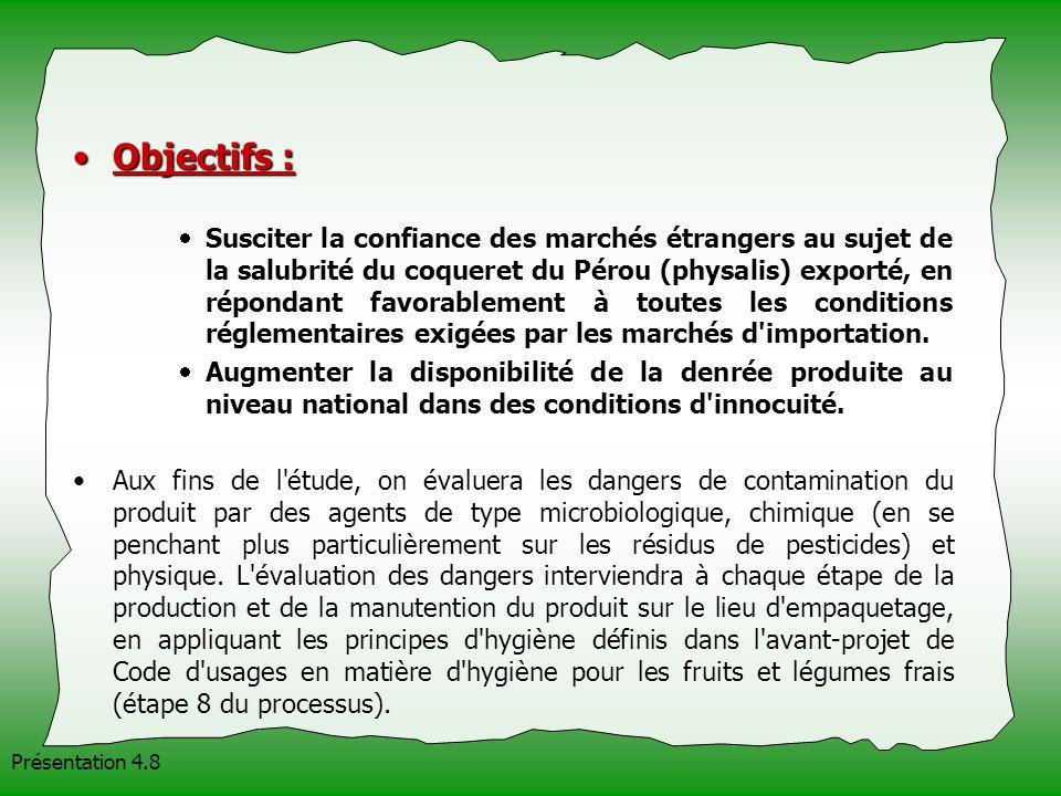 Présentation 4.8 Objectifs :Objectifs : Susciter la confiance des marchés étrangers au sujet de la salubrité du coqueret du Pérou (physalis) exporté,