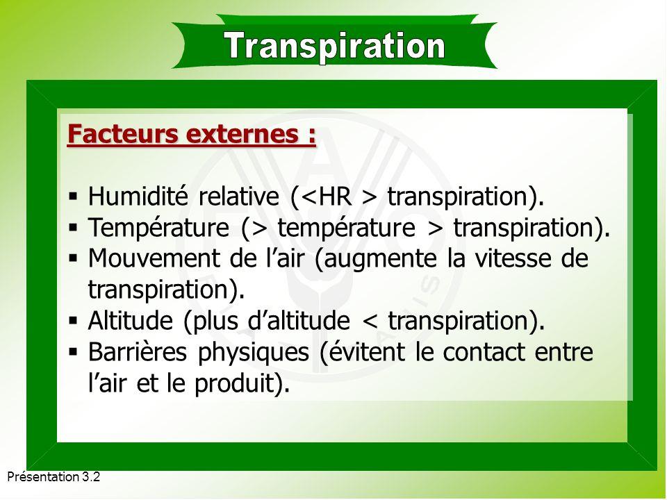 Présentation 3.2 La transpiration est la perte deau sous forme de vapeur à travers la cuticule, les stomates, les lenticelles de la zone exposée à lai