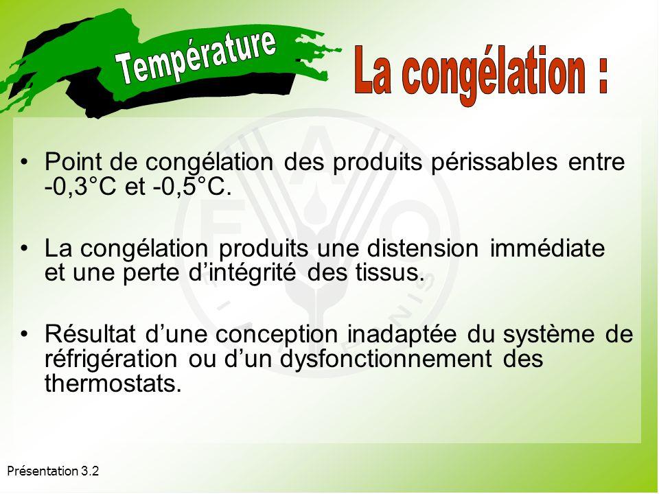 Présentation 3.2 Des températures supérieures ou inférieures à la fourchette optimale peuvent être origine dune détérioration : par congélation.