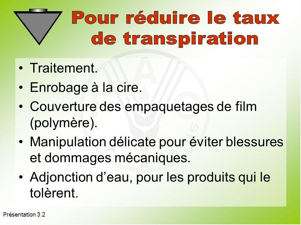 Présentation 3.2 Ajouter de l'eau (aspersion, nébulisation, vaporisation, emploi dhumidificateurs). Régulation de la vitesse de déplacement de lair au