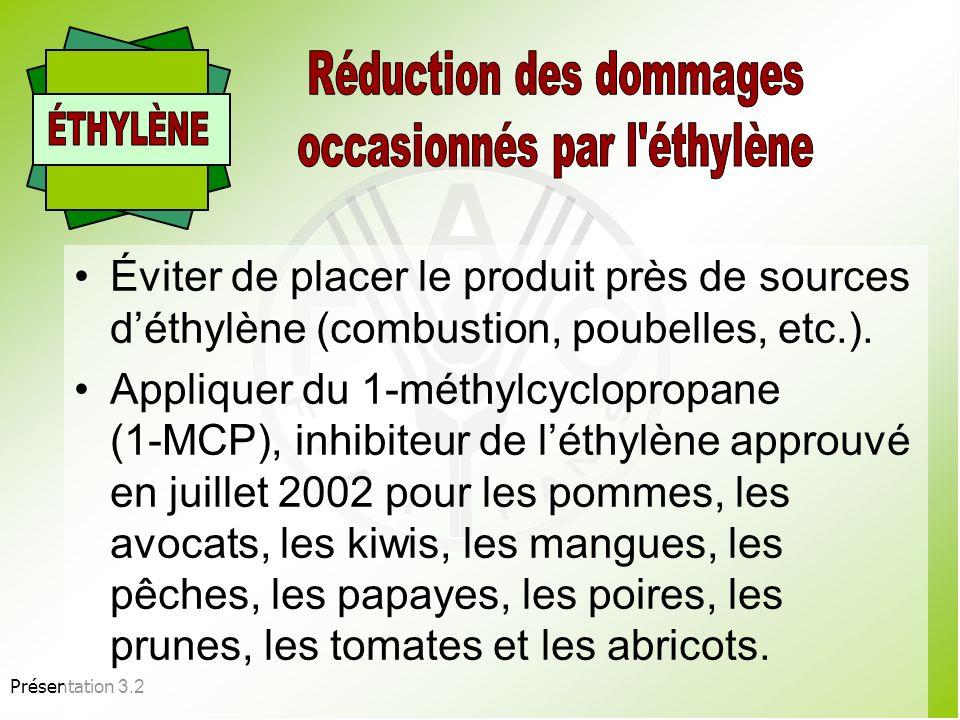 Présentation 3.2 Humidifier le sol dans les chambres froides. Ajouter de la glace dans les conteneurs. Asperger deau propre le produit sur les étalage