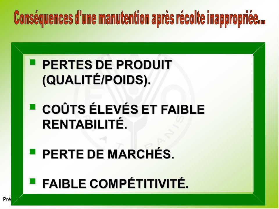 Présentation 3.2 PERTES DE PRODUIT (QUALITÉ/POIDS).