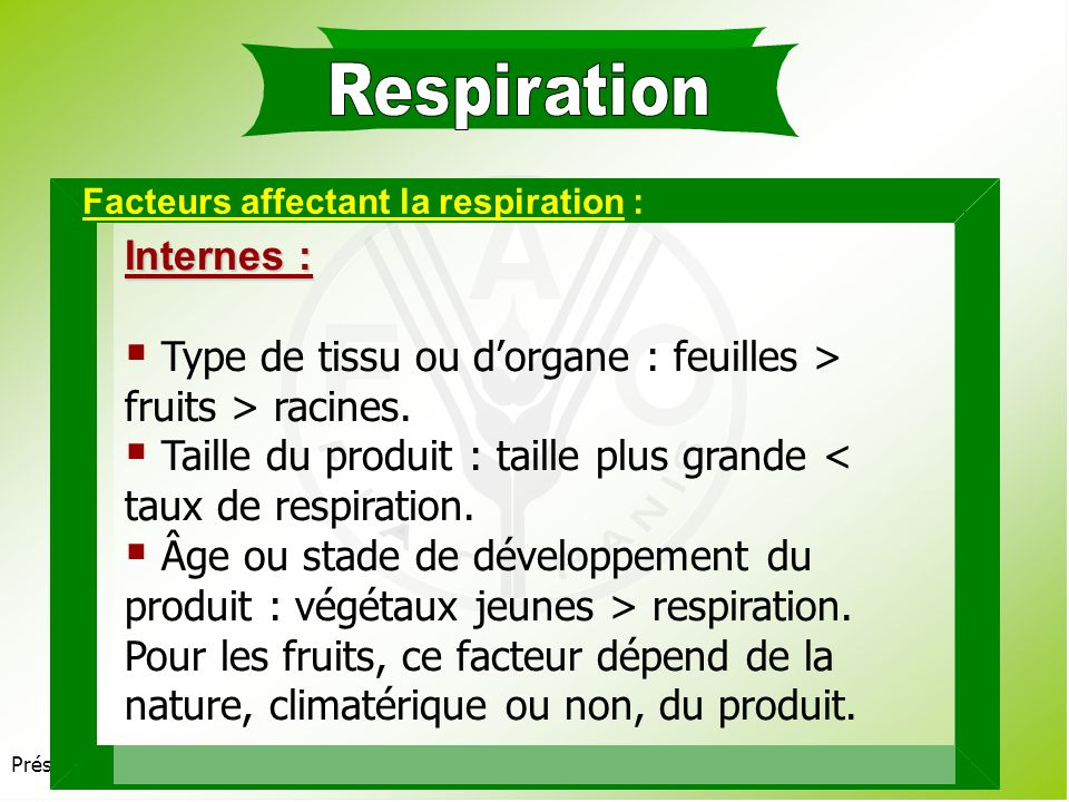 Présentation 3.2 Processus clés dans la vie après récolte : Respiration. Transpiration. Production déthylène. Processus de maturation.