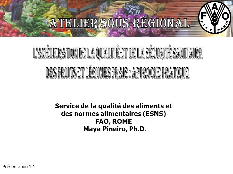 Présentation 1.1 Service de la qualité des aliments et des normes alimentaires (ESNS) FAO, ROME Maya Pineiro, Ph.D.