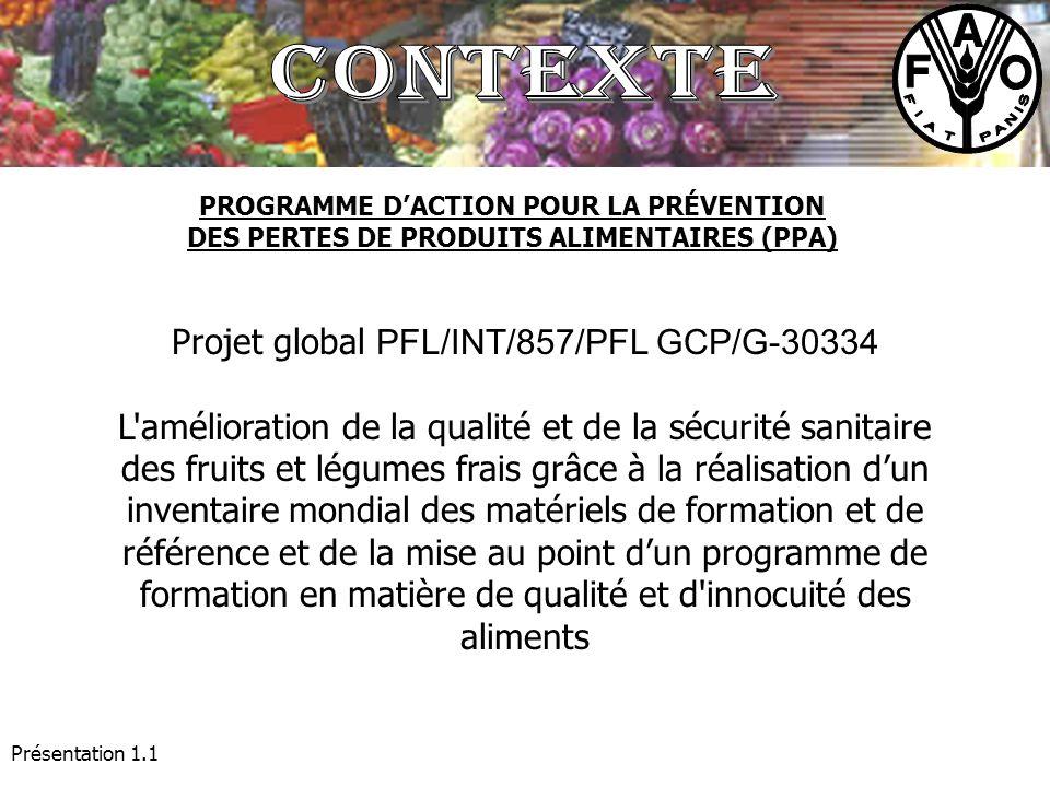 Présentation 1.1 Projet global PFL/INT/857/PFL GCP/G-30334 L'amélioration de la qualité et de la sécurité sanitaire des fruits et légumes frais grâce