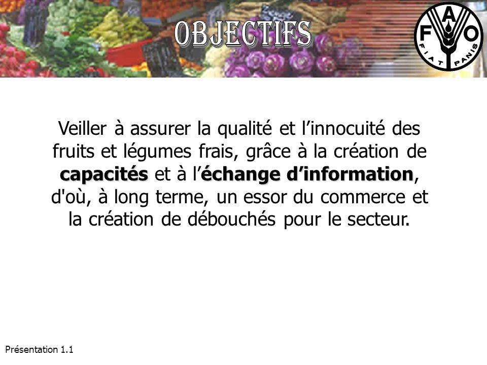 Présentation 1.1 capacitéséchange dinformation Veiller à assurer la qualité et linnocuité des fruits et légumes frais, grâce à la création de capacité