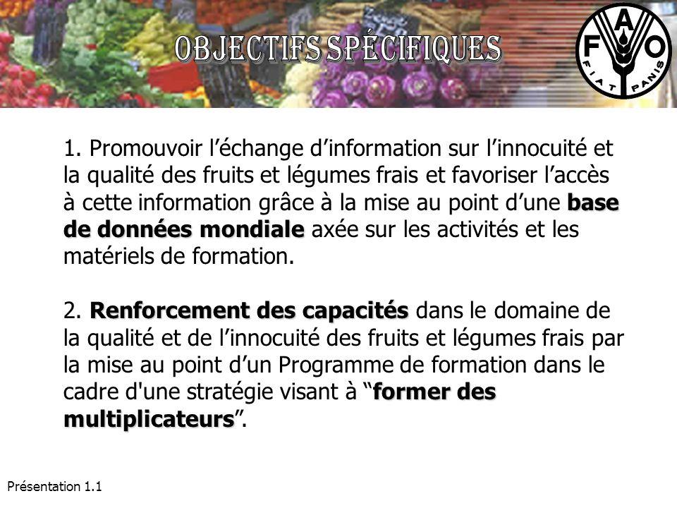 Présentation 1.1 base de données mondiale 1. Promouvoir léchange dinformation sur linnocuité et la qualité des fruits et légumes frais et favoriser la