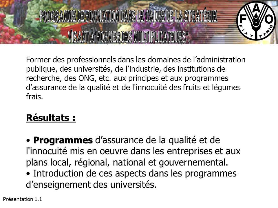 Présentation 1.1 Former des professionnels dans les domaines de ladministration publique, des universités, de lindustrie, des institutions de recherch