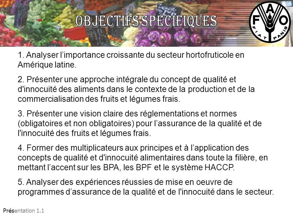 Présentation 1.1 1. Analyser limportance croissante du secteur hortofruticole en Amérique latine. 2. Présenter une approche intégrale du concept de qu
