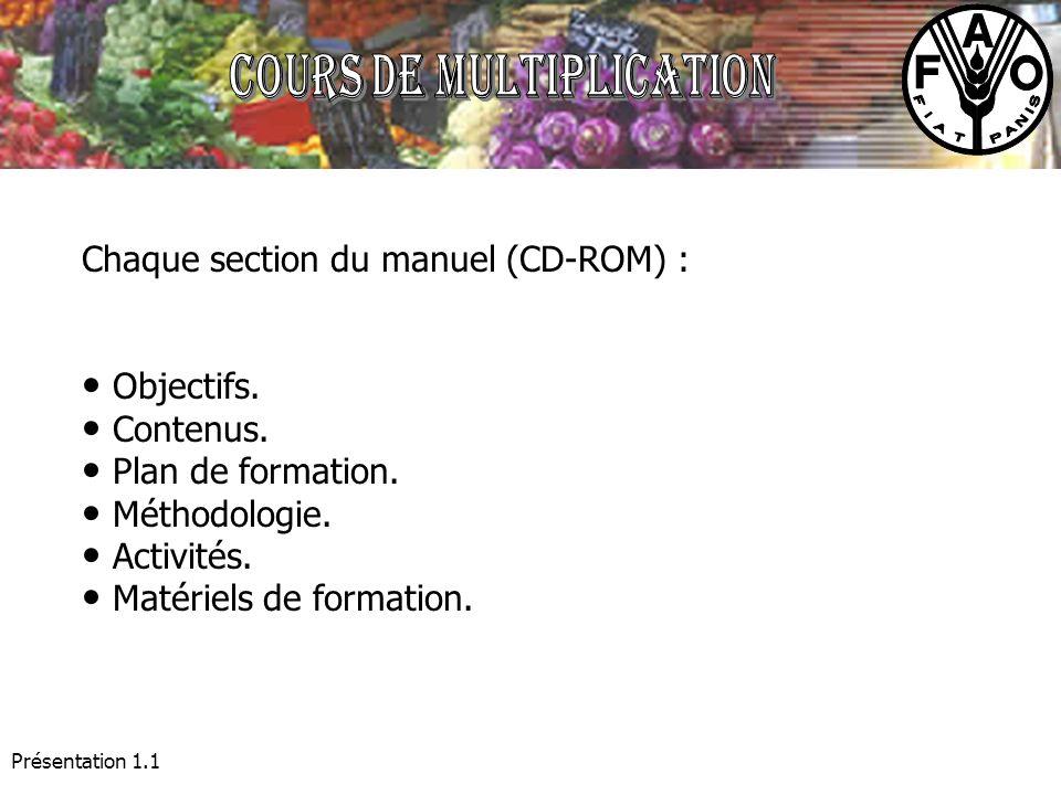Présentation 1.1 Chaque section du manuel (CD-ROM) : Objectifs. Contenus. Plan de formation. Méthodologie. Activités. Matériels de formation.