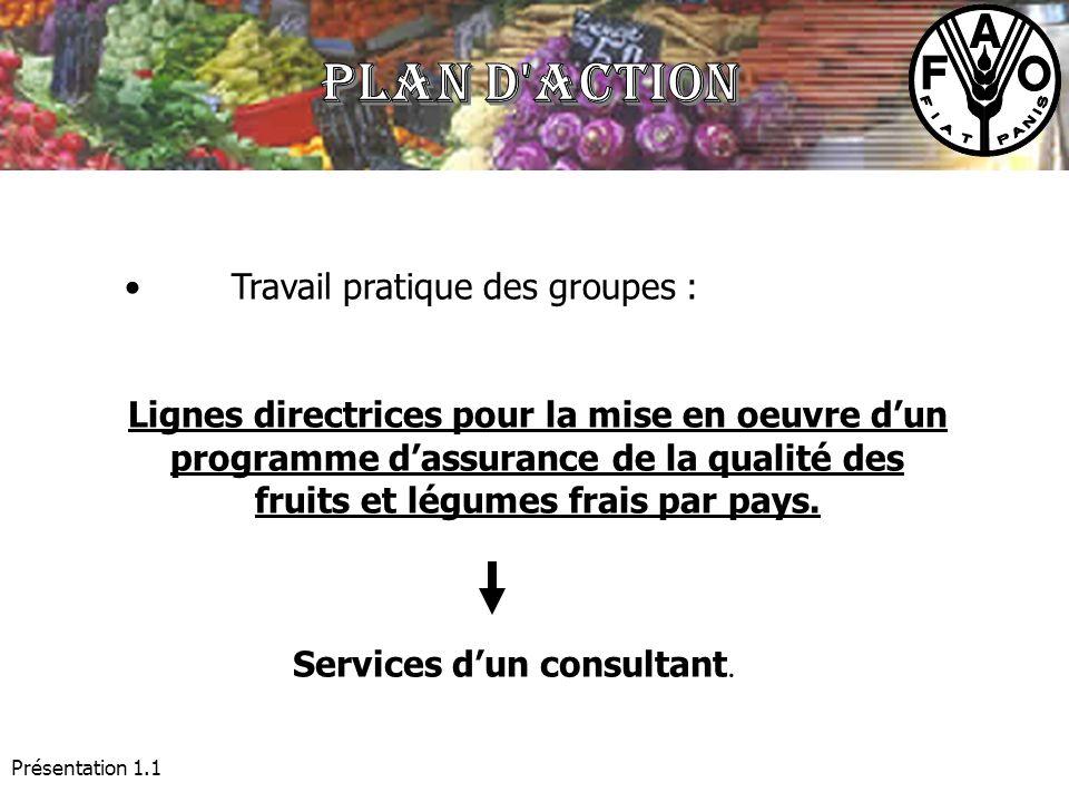 Présentation 1.1 Travail pratique des groupes : Lignes directrices pour la mise en oeuvre dun programme dassurance de la qualité des fruits et légumes