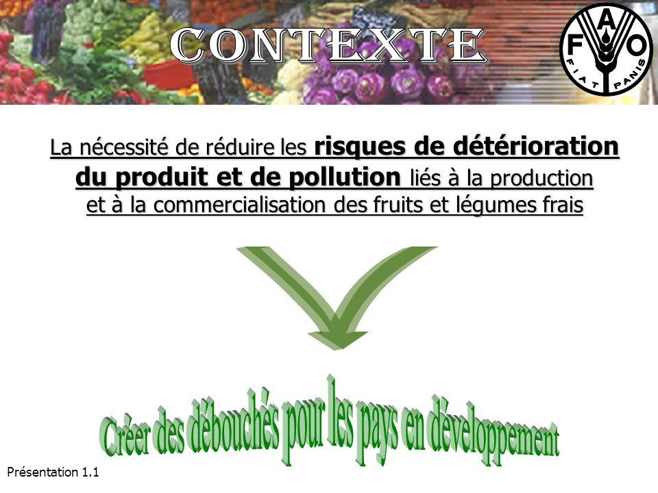 Présentation 1.1 La nécessité de réduire les risques de détérioration du produit et de pollution liés à la production et à la commercialisation des fr