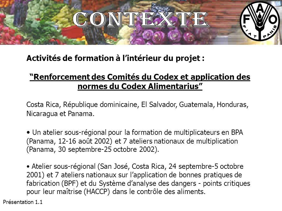 Présentation 1.1 Activités de formation à lintérieur du projet : Renforcement des Comités du Codex et application des normes du Codex Alimentarius Cos