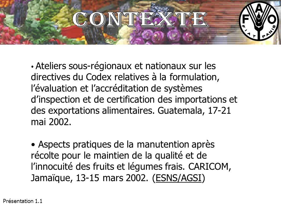 Présentation 1.1 Ateliers sous-régionaux et nationaux sur les directives du Codex relatives à la formulation, lévaluation et laccréditation de système
