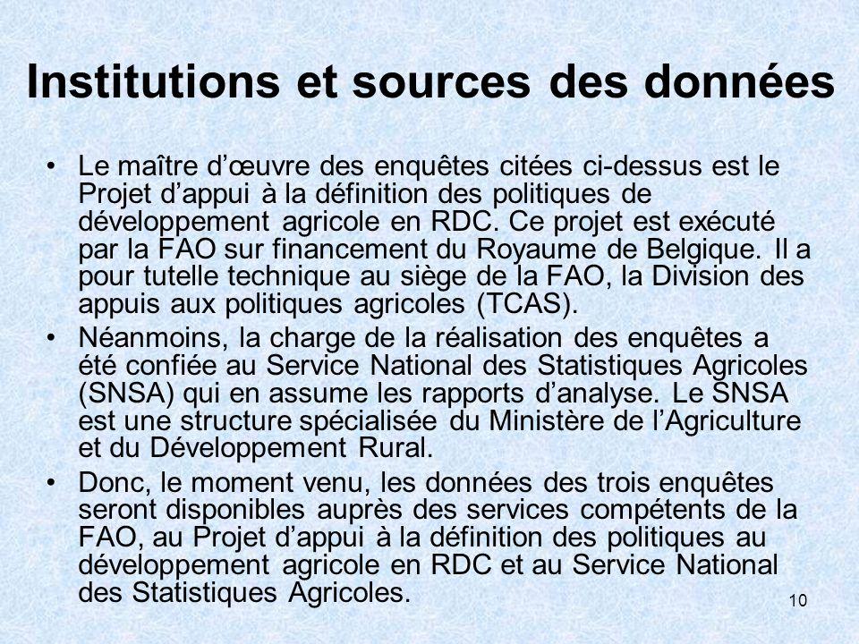 10 Institutions et sources des données Le maître dœuvre des enquêtes citées ci-dessus est le Projet dappui à la définition des politiques de développement agricole en RDC.