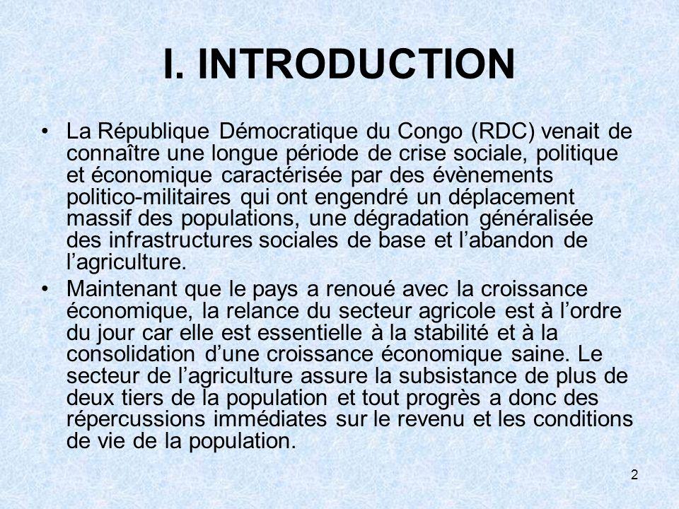 2 I. INTRODUCTION La République Démocratique du Congo (RDC) venait de connaître une longue période de crise sociale, politique et économique caractéri