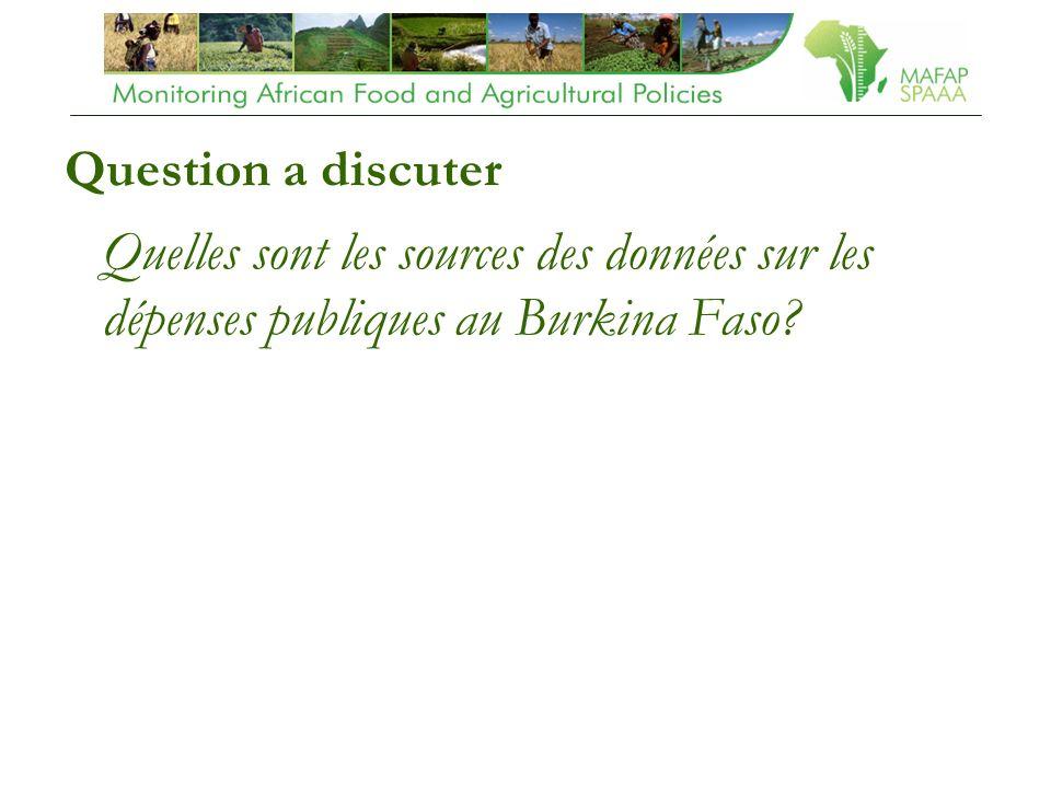 Question a discuter Quelles sont les sources des données sur les dépenses publiques au Burkina Faso?