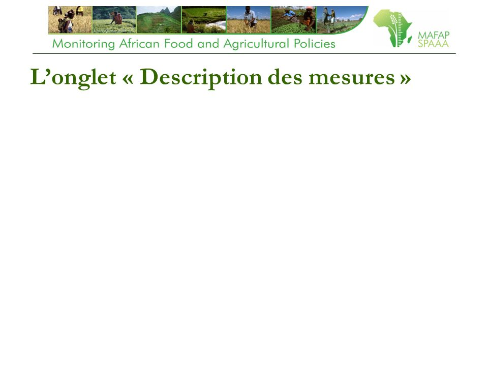 Longlet « Description des mesures »