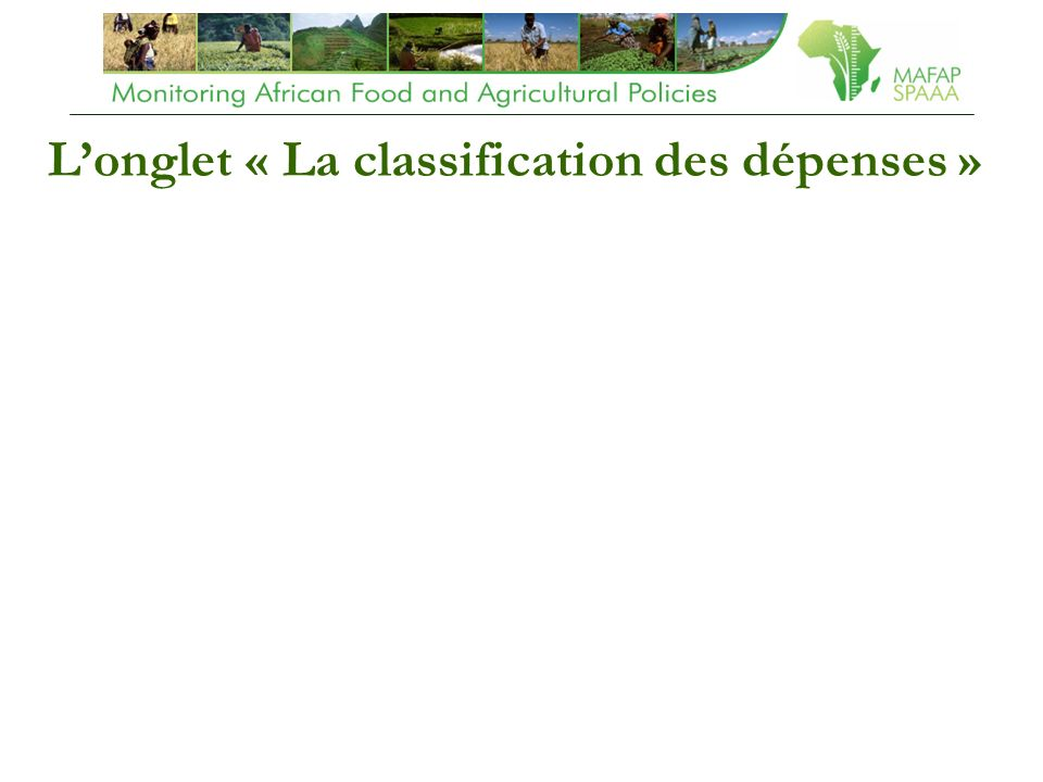 Longlet « La classification des dépenses »