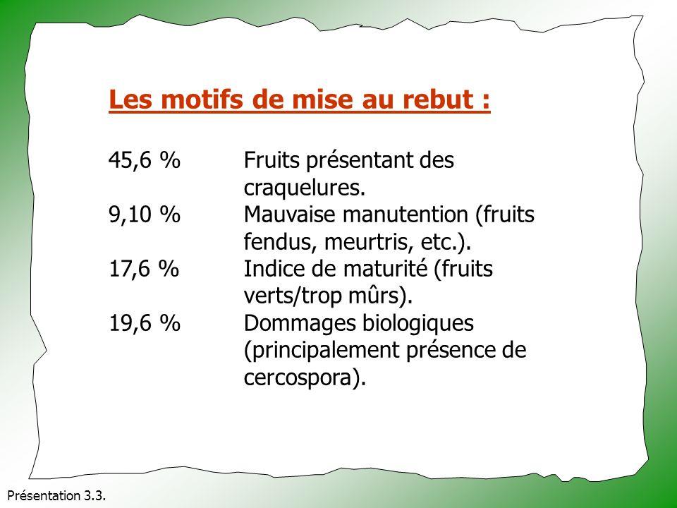Présentation 3.3. Les motifs de mise au rebut : 45,6 % Fruits présentant des craquelures. 9,10 % Mauvaise manutention (fruits fendus, meurtris, etc.).