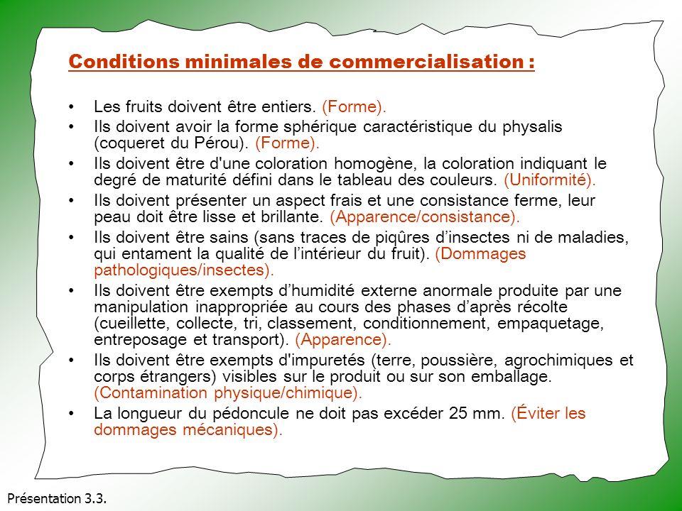 Présentation 3.3. Conditions minimales de commercialisation : Les fruits doivent être entiers. (Forme). Ils doivent avoir la forme sphérique caractéri
