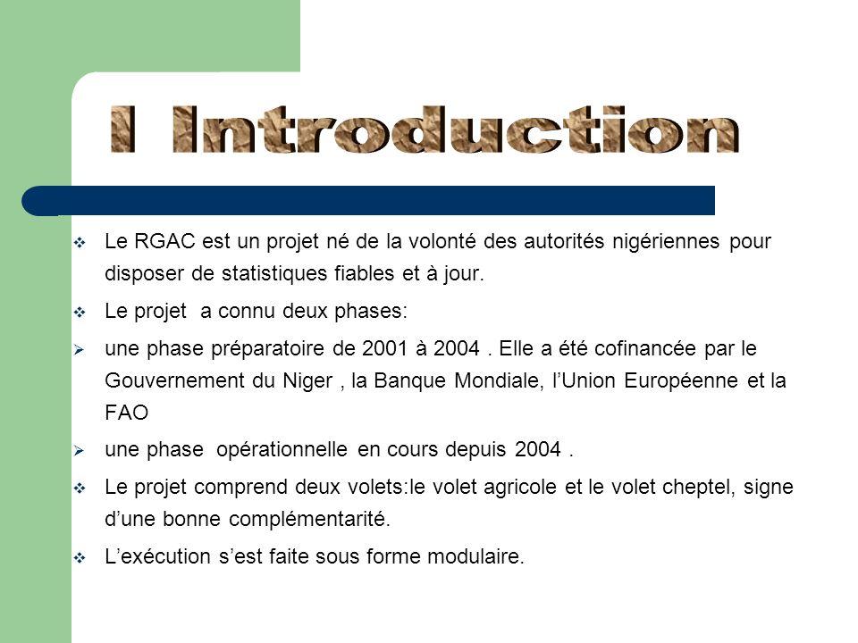 Le RGAC est un projet né de la volonté des autorités nigériennes pour disposer de statistiques fiables et à jour. Le projet a connu deux phases: une p