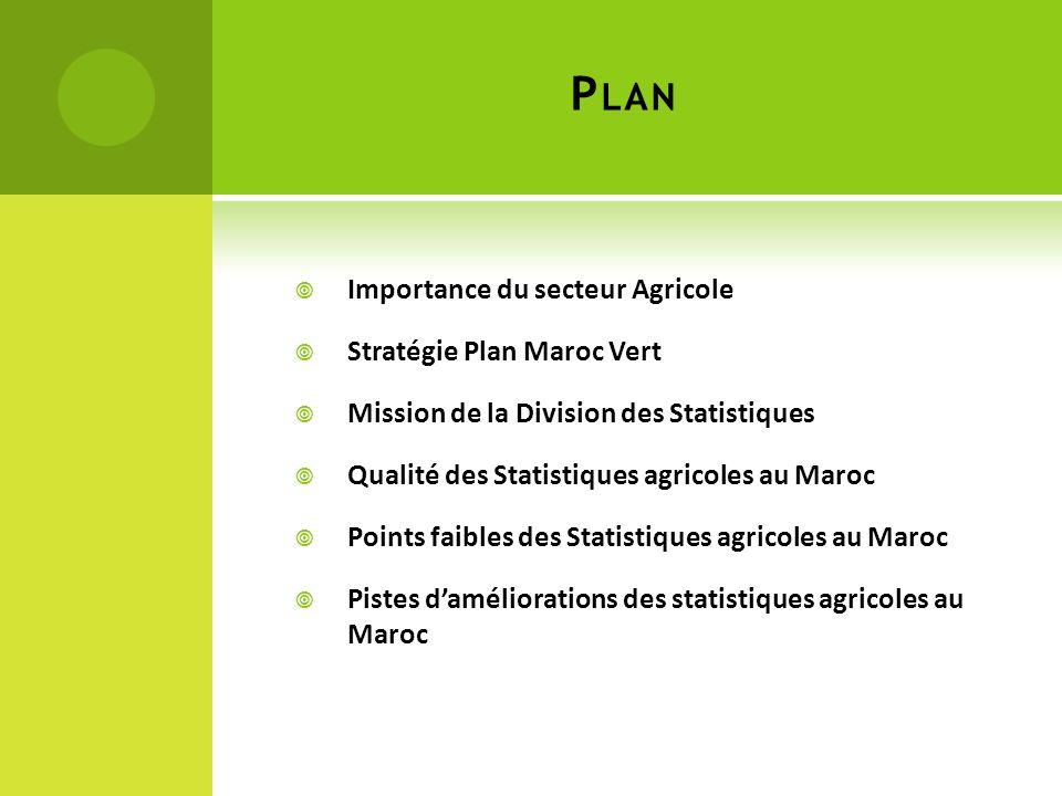 P LAN Importance du secteur Agricole Stratégie Plan Maroc Vert Mission de la Division des Statistiques Qualité des Statistiques agricoles au Maroc Points faibles des Statistiques agricoles au Maroc Pistes daméliorations des statistiques agricoles au Maroc