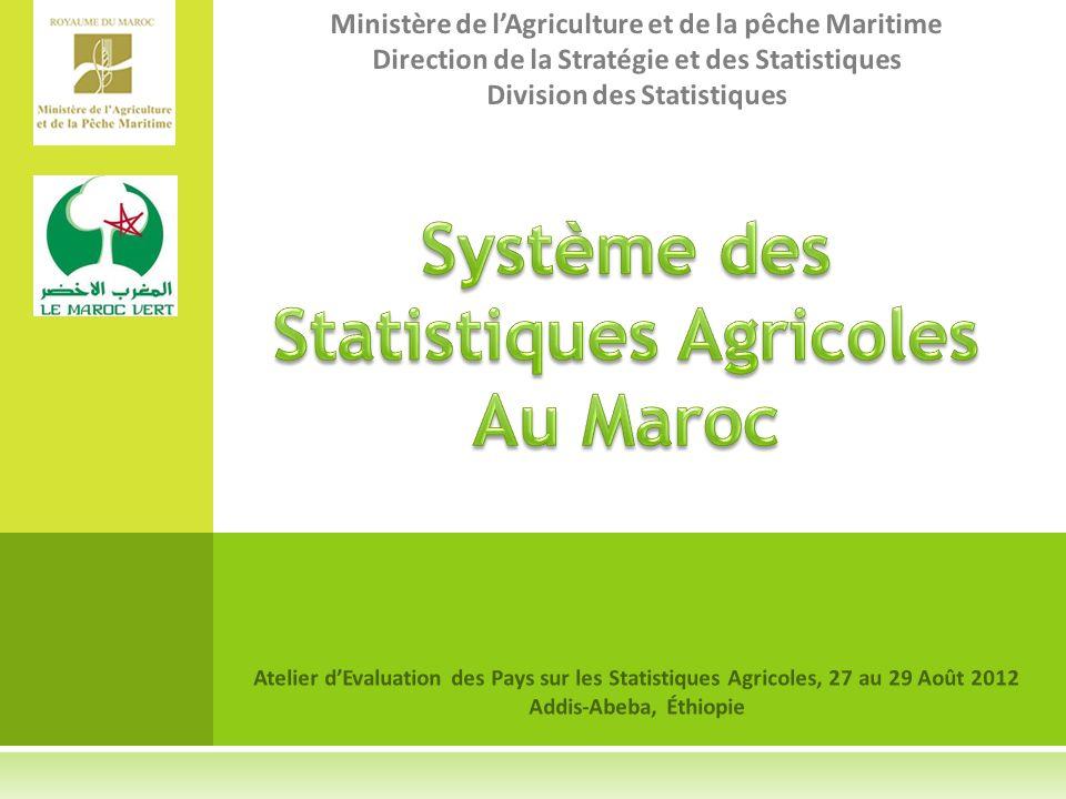 Atelier dEvaluation des Pays sur les Statistiques Agricoles, 27 au 29 Août 2012 Addis-Abeba, Éthiopie Ministère de lAgriculture et de la pêche Maritime Direction de la Stratégie et des Statistiques Division des Statistiques