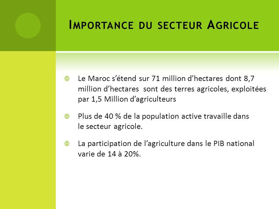 I MPORTANCE DU SECTEUR A GRICOLE Le Maroc sétend sur 71 million dhectares dont 8,7 million dhectares sont des terres agricoles, exploitées par 1,5 Million dagriculteurs Plus de 40 % de la population active travaille dans le secteur agricole.