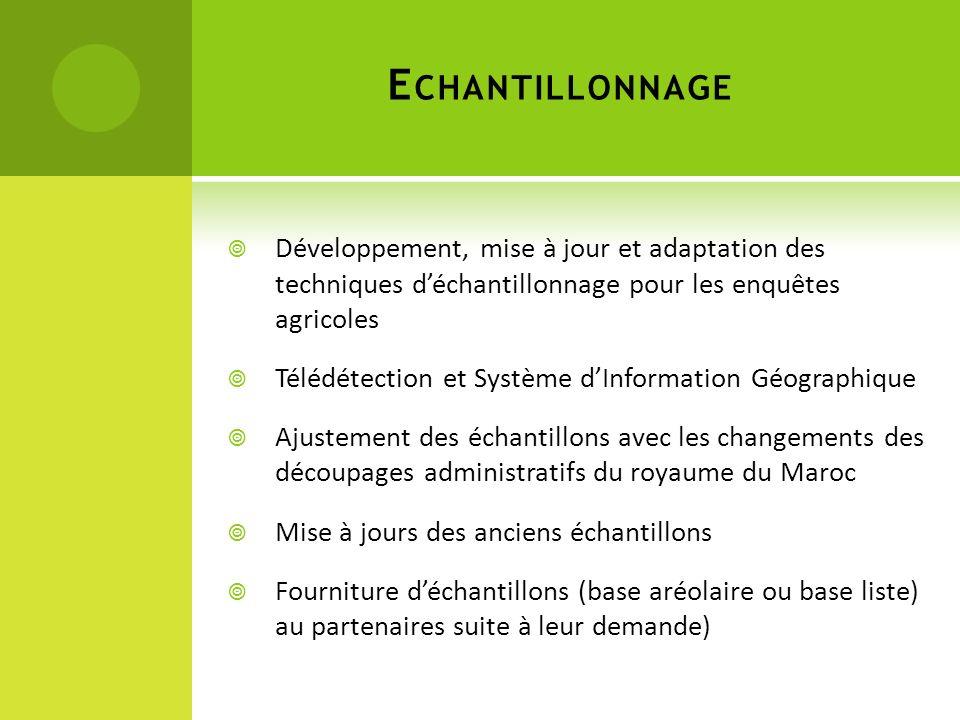E CHANTILLONNAGE Développement, mise à jour et adaptation des techniques déchantillonnage pour les enquêtes agricoles Télédétection et Système dInform
