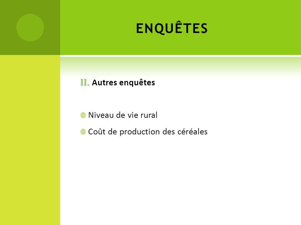 II. II. Autres enquêtes Niveau de vie rural Coût de production des céréales ENQUÊTES
