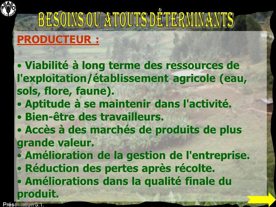 Présentation 5.1. PRODUCTEUR : Viabilité à long terme des ressources de l'exploitation/établissement agricole (eau, sols, flore, faune). Viabilité à l