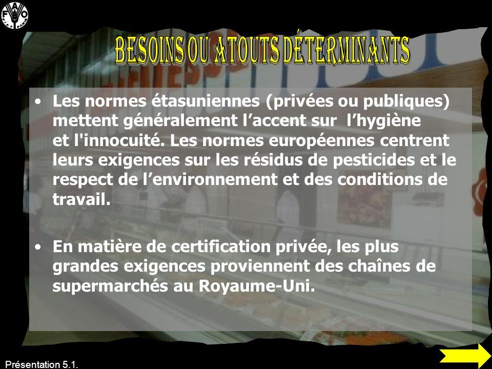 Présentation 5.1. Les normes étasuniennes (privées ou publiques) mettent généralement laccent sur lhygiène et l'innocuité. Les normes européennes cent