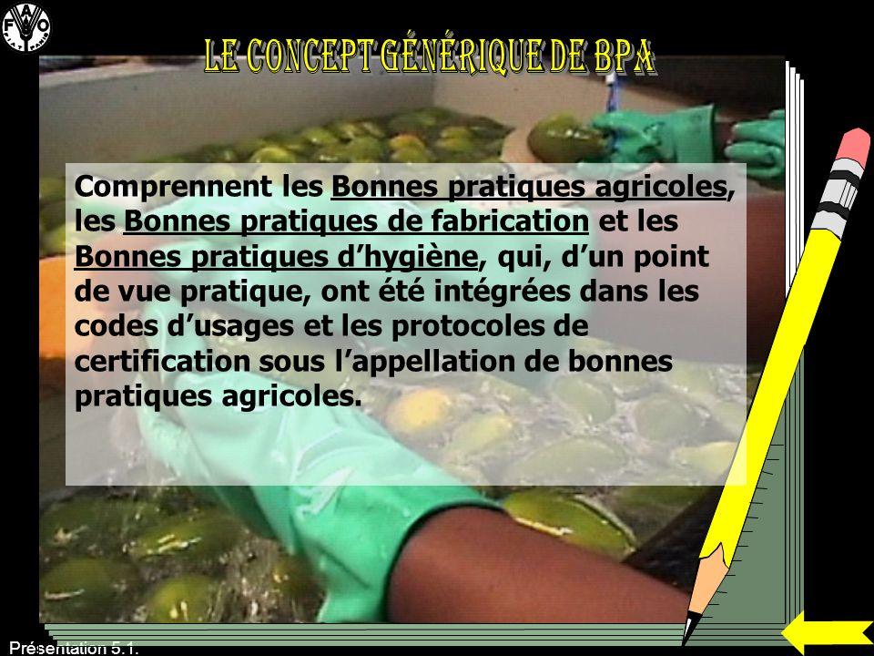 Présentation 5.1. Comprennent les Bonnes pratiques agricoles, les Bonnes pratiques de fabrication et les Bonnes pratiques dhygiène, qui, dun point de