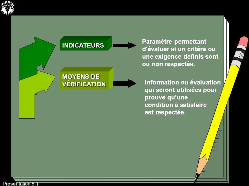 Présentation 5.1. INDICATEURS MOYENS DE VÉRIFICATION Paramètre permettant d'évaluer si un critère ou une exigence définis sont ou non respectés. Infor