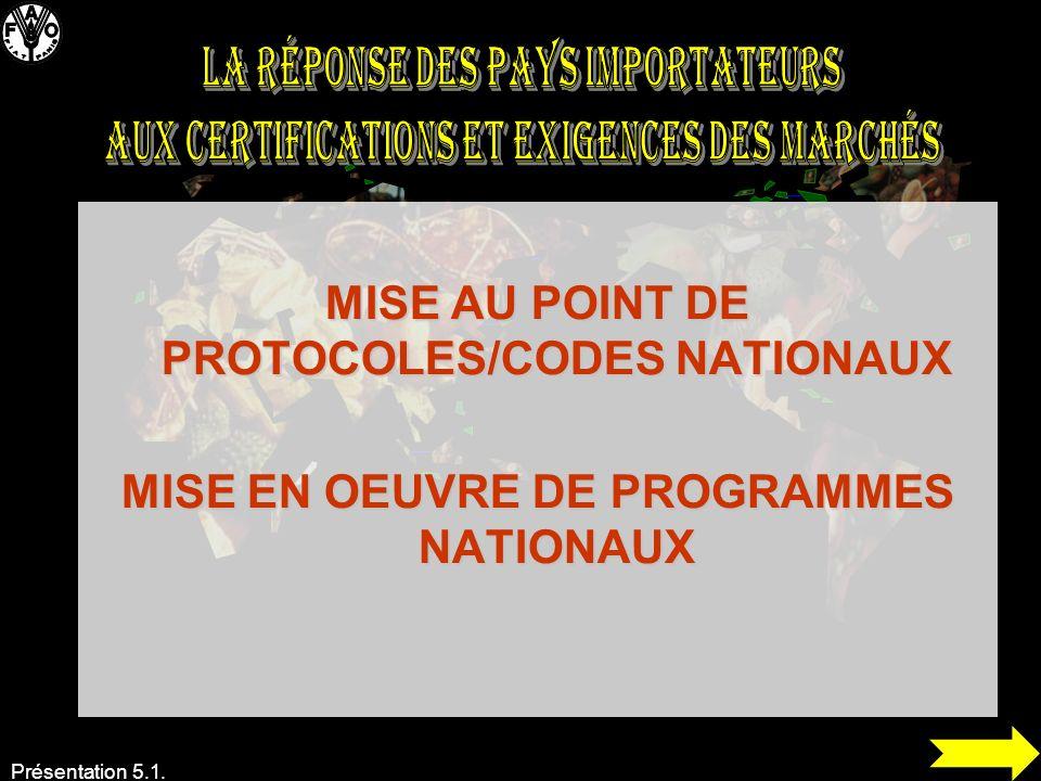 Présentation 5.1. MISE AU POINT DE PROTOCOLES/CODES NATIONAUX MISE EN OEUVRE DE PROGRAMMES NATIONAUX