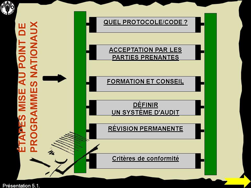 Présentation 5.1. QUEL PROTOCOLE/CODE ? ACCEPTATION PAR LES PARTIES PRENANTES FORMATION ET CONSEIL DÉFINIR UN SYSTÈME D'AUDIT RÉVISION PERMANENTE Crit