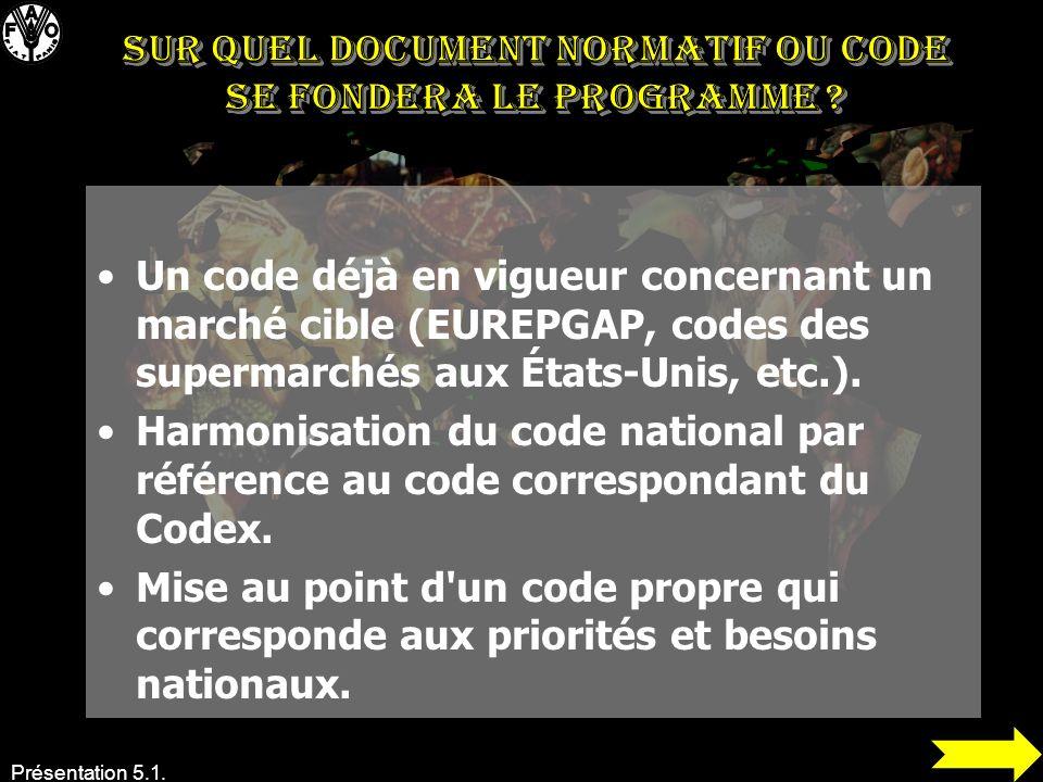 Présentation 5.1. Un code déjà en vigueur concernant un marché cible (EUREPGAP, codes des supermarchés aux États-Unis, etc.). Harmonisation du code na