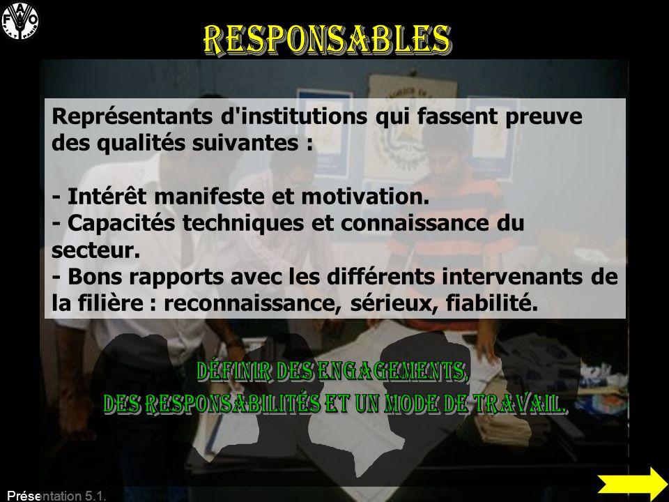 Présentation 5.1. Représentants d'institutions qui fassent preuve des qualités suivantes : - Intérêt manifeste et motivation. - Capacités techniques e
