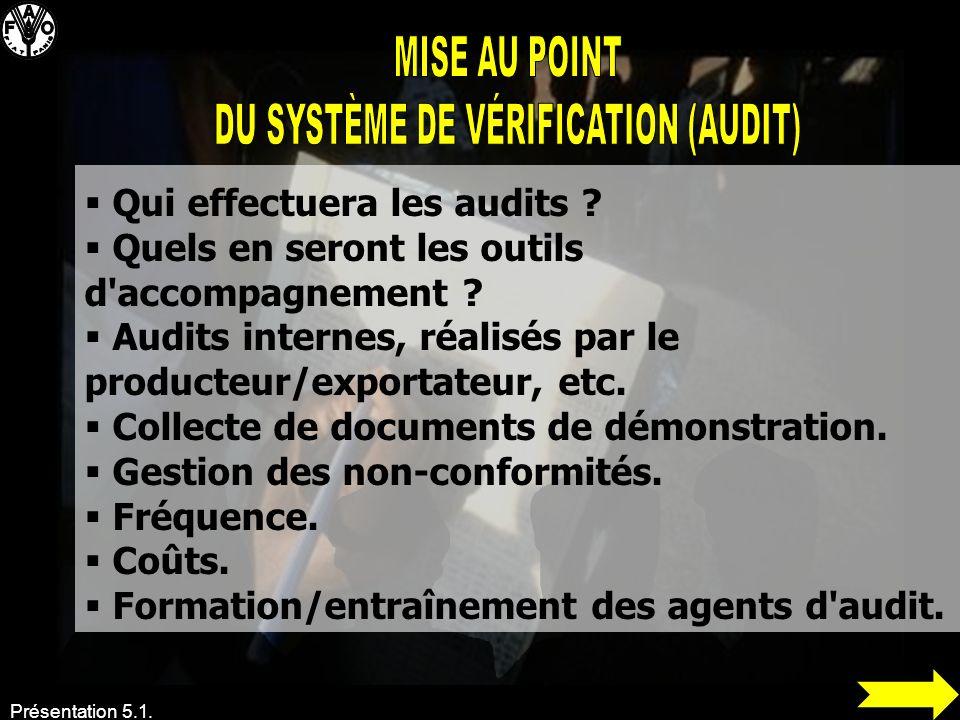 Présentation 5.1. Qui effectuera les audits ? Quels en seront les outils d'accompagnement ? Audits internes, réalisés par le producteur/exportateur, e