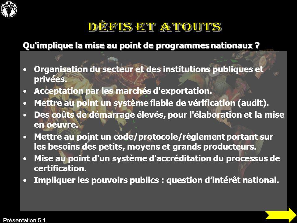 Présentation 5.1. Organisation du secteur et des institutions publiques et privées. Acceptation par les marchés d'exportation. Mettre au point un syst