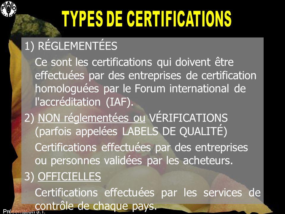 Présentation 5.1. Types de certifications 1) RÉGLEMENTÉES Ce sont les certifications qui doivent être effectuées par des entreprises de certification