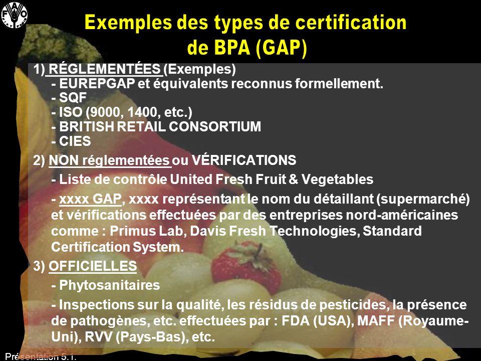 Présentation 5.1. 1) RÉGLEMENTÉES (Exemples) - EUREPGAP et équivalents reconnus formellement. - SQF - ISO (9000, 1400, etc.) - BRITISH RETAIL CONSORTI