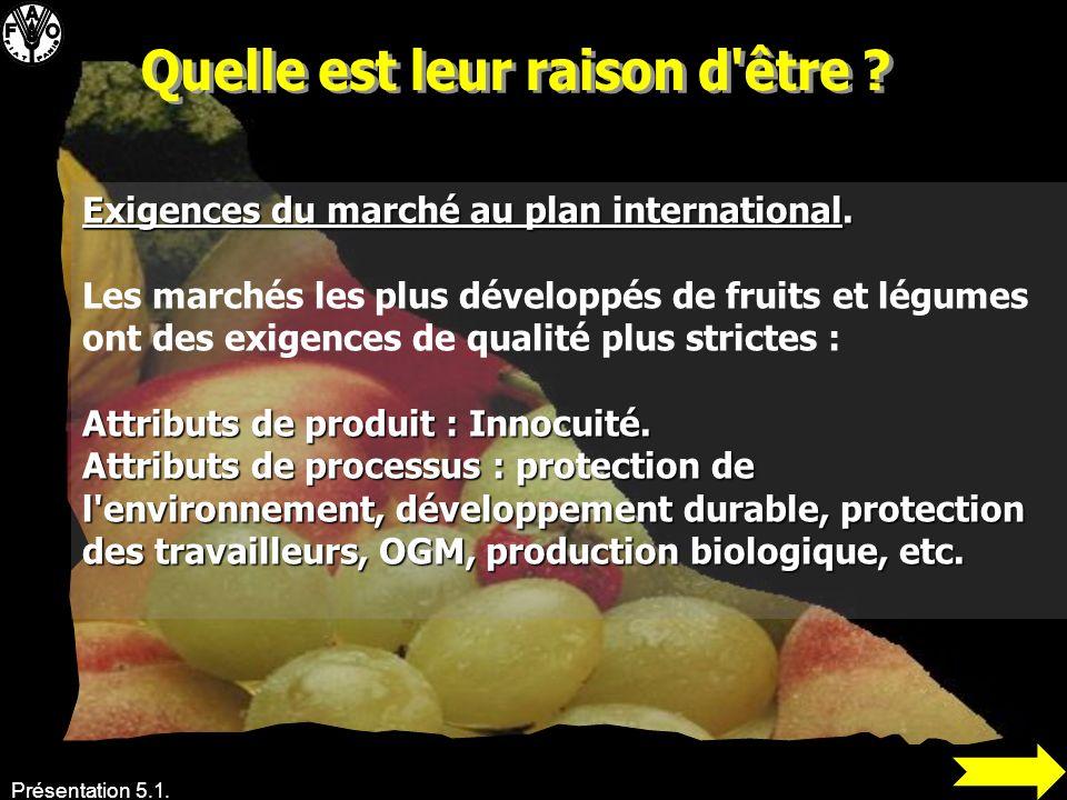 Présentation 5.1. Exigences du marché au plan international. Les marchés les plus développés de fruits et légumes ont des exigences de qualité plus st