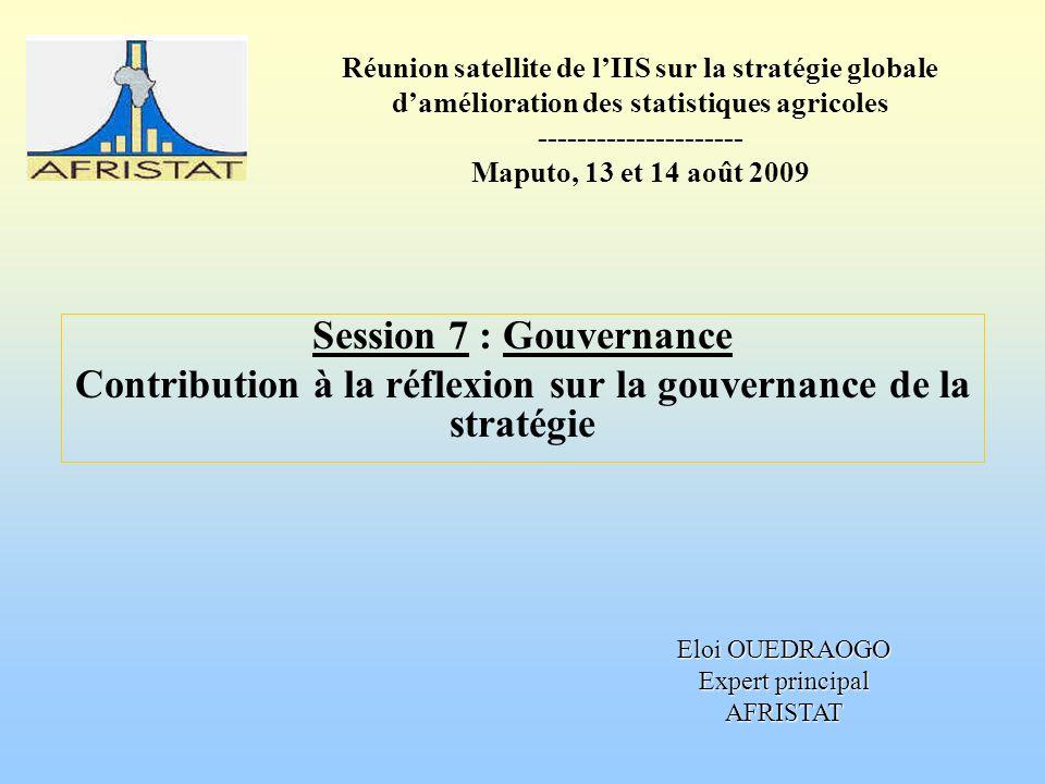 Réunion satellite de lIIS sur la stratégie globale damélioration des statistiques agricoles --------------------- Maputo, 13 et 14 août 2009 Session 7 : Gouvernance Contribution à la réflexion sur la gouvernance de la stratégie Eloi OUEDRAOGO Expert principal AFRISTAT