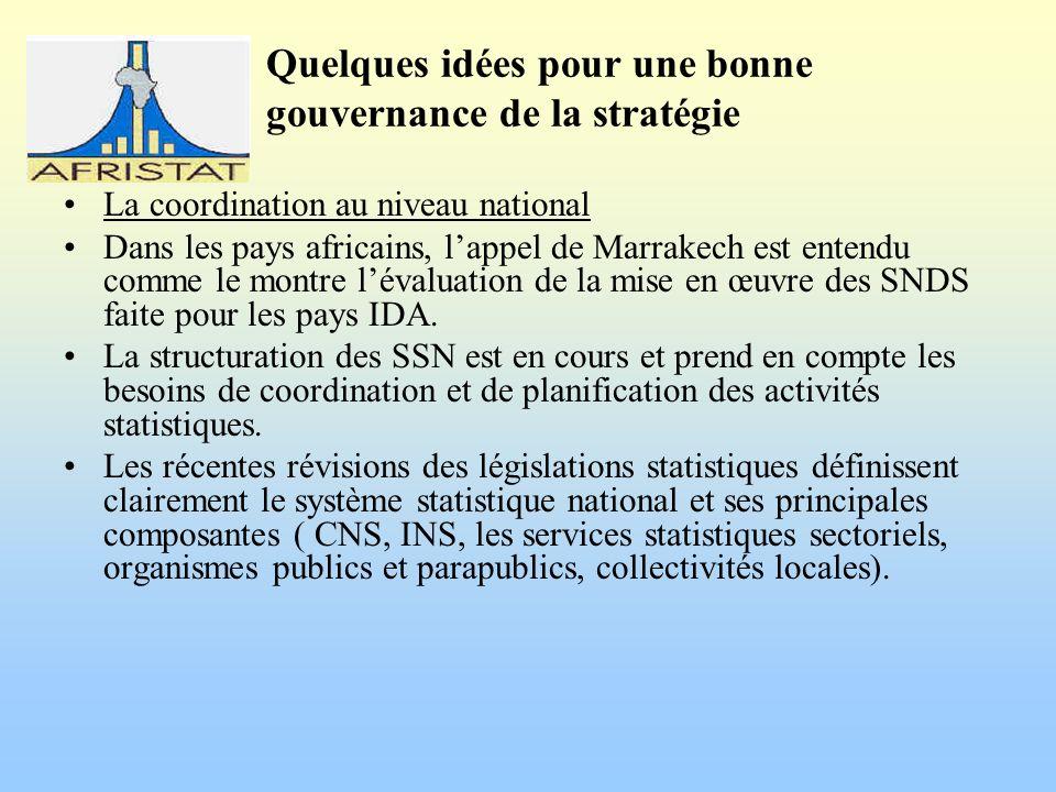 Quelques idées pour une bonne gouvernance de la stratégie La coordination au niveau national Dans les pays africains, lappel de Marrakech est entendu