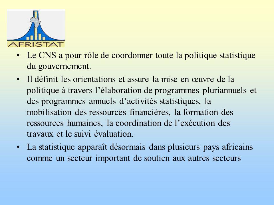 Le CNS a pour rôle de coordonner toute la politique statistique du gouvernement. Il définit les orientations et assure la mise en œuvre de la politiqu