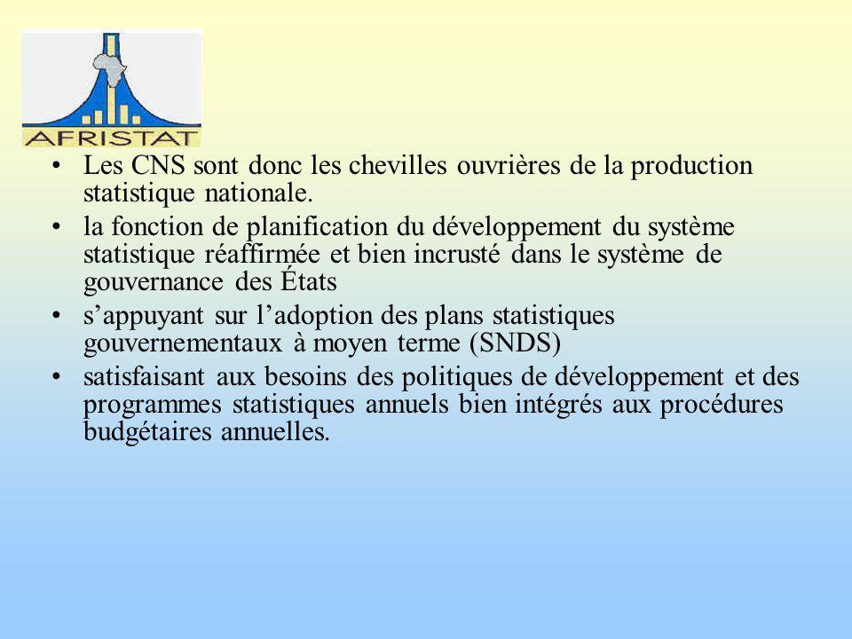 Les CNS sont donc les chevilles ouvrières de la production statistique nationale. la fonction de planification du développement du système statistique
