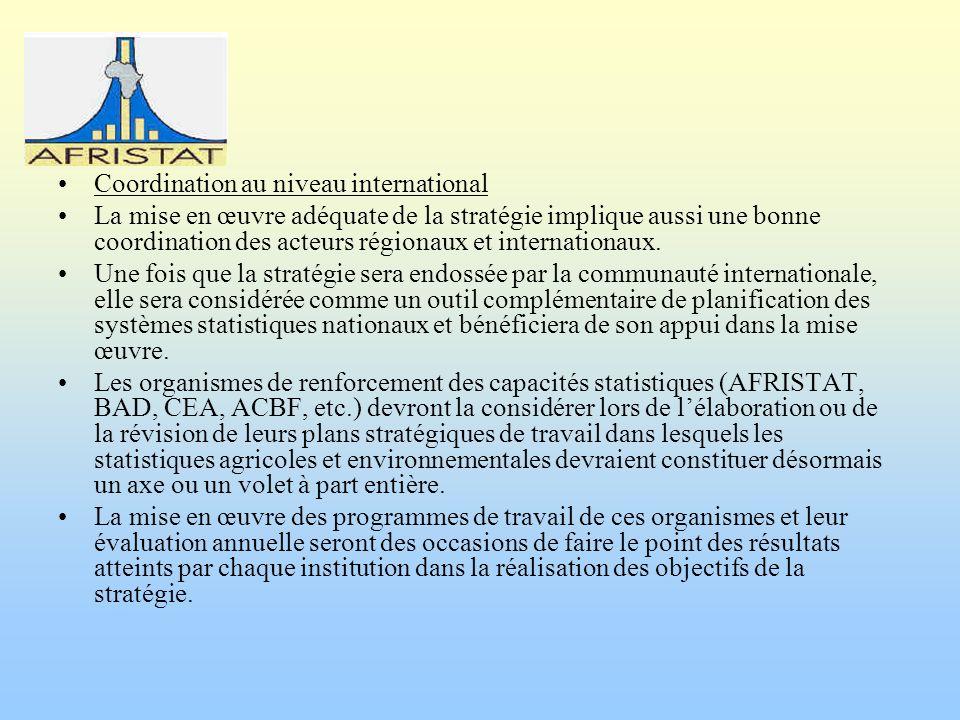 Coordination au niveau international La mise en œuvre adéquate de la stratégie implique aussi une bonne coordination des acteurs régionaux et internationaux.