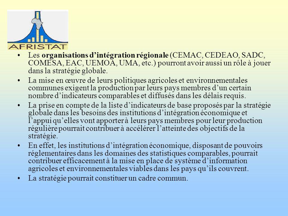 Les organisations dintégration régionale (CEMAC, CEDEAO, SADC, COMESA, EAC, UEMOA, UMA, etc.) pourront avoir aussi un rôle à jouer dans la stratégie g